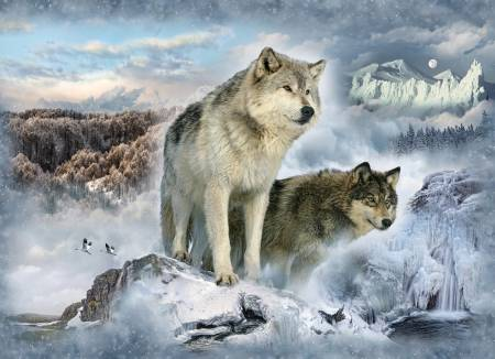 Glacier Wolves 43in x 33in Digitally Printed