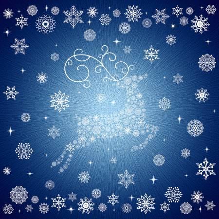 Navy Snowflakes Digitally Printed
