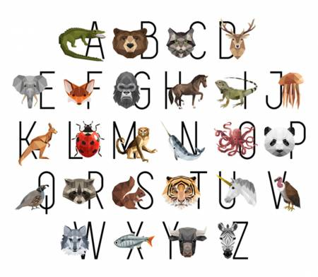 Zoo Keeper Alphabet Animals Digitally Printed Panel 43in x 37in