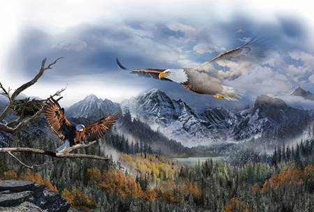 Call of the Wild Eagles Digital Panel  Q4489-16 Sky 43in x 30in
