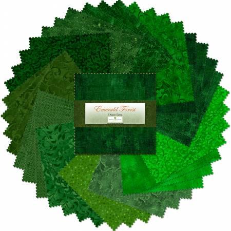 5in Squares Emerald Forest 42pcs/bundle, 12 bundles per pack