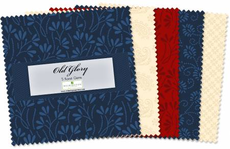 5in Squares Essential Gems Old Glory 42pcs, 12 bundle/pack