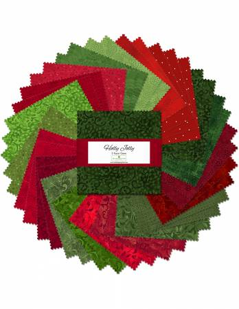 5in Squares Essentials Holly Jolly, 42pcs, 12 bundles/pack