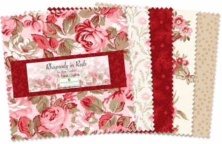 5 in Squares Rhapsody In Reds 42 pcs