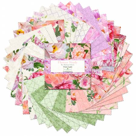 5in Squares Flower Study, 42pcs, 12 bundles/pack