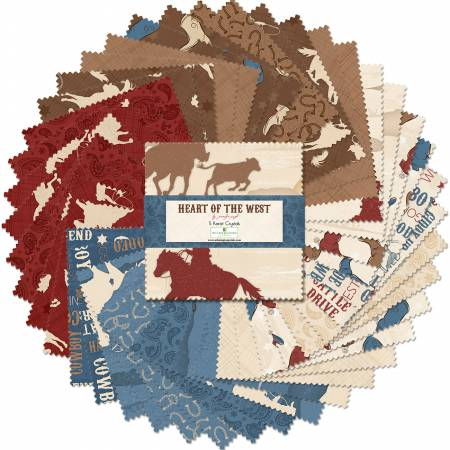 5in Squares Heart of The West, 42pcs, 12 bundles/pack