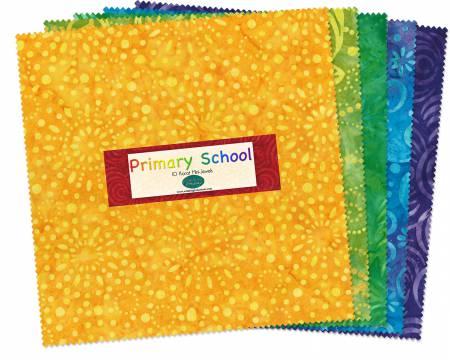 10in Squares Primary School Batik 24pcs