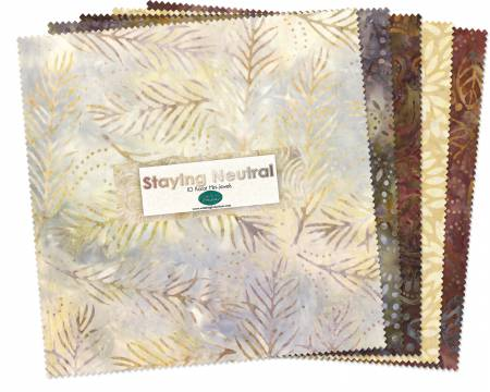 10in Squares Staying Neutral Batik 24pcs/bundle 6 bundles per pack
