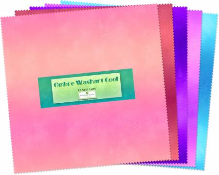 10in Squares Ombre Washart Cool 42pcs
