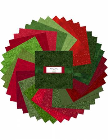 10in Squares Essentials Holly Jolly, 42pcs, 4 bundles/pack