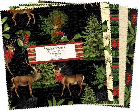 10in Squares Festive Forest, 42pcs, 4 bundles/pack