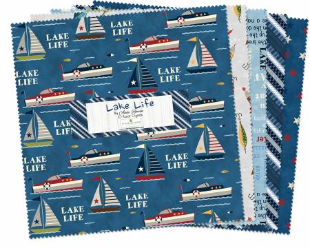 10in Squares Lake Life, 42pcs, 4 bundles per pack