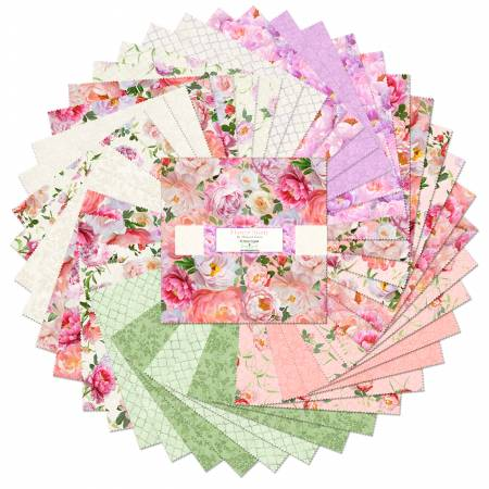 10in Squares Flower Study, 42pcs, 4 bundles/pack
