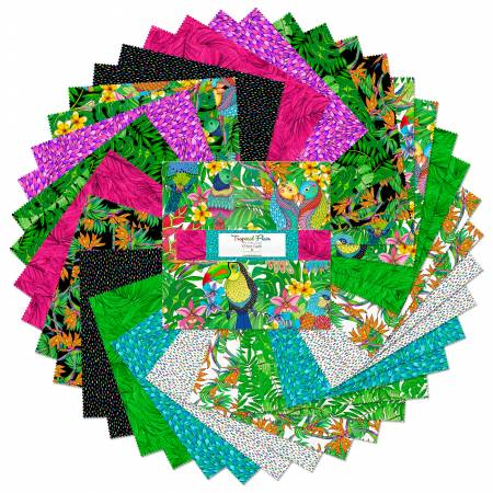 10in Squares Tropical Flair, 42pcs