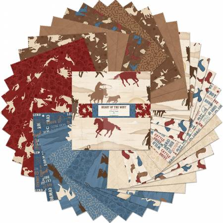 10in Squares Heart of The West, 42pcs, 4 bundles/pack