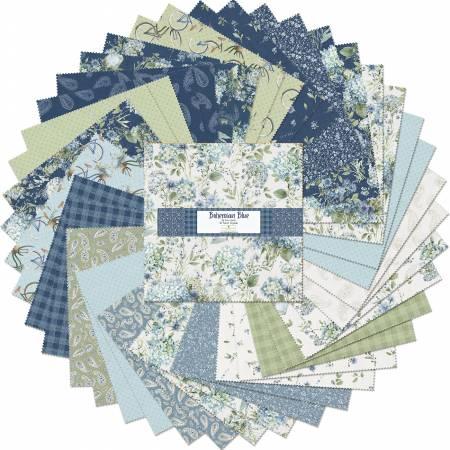 10in Squares Bohemian Blue, 42pcs, 4 bundles/pack