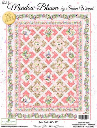 Project Sheet Meadow Bloom Red Quilt, 12 per pack