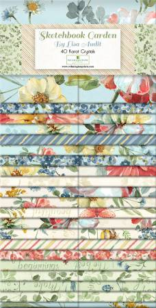 2-1/2in Strips, Sketchbook Garden, 40pcs, 4 bundles per pack