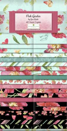 2-1/2in Strips Pink Garden by Wilmington Prints, 40pcs,