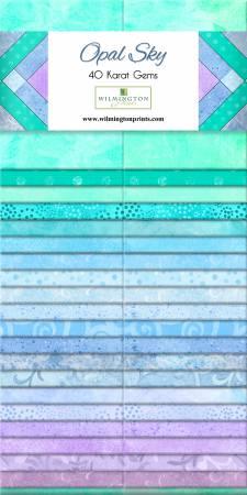 2-1/2in Strips Essential Gems- Opal Sky- 40pcs by Wilmington Prints
