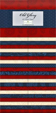 2-1/2in Strips Essential Gems Old Glory 40pcs