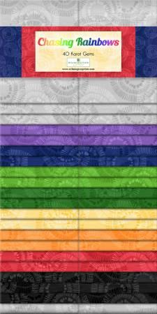 2-1/2in Strips Chasing Rainbows, 40pcs, 4 bundles per pack