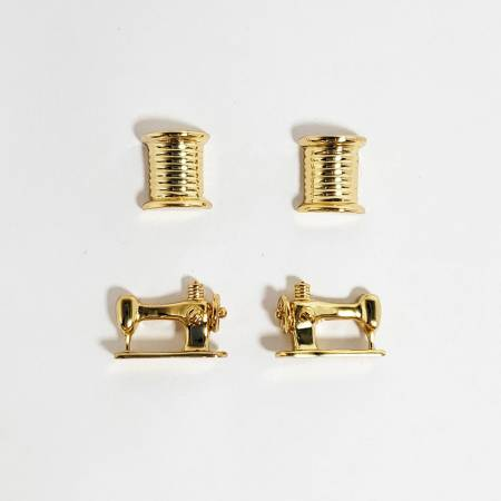 Gift - Thread & Machine Earring Set of 2 Gold
