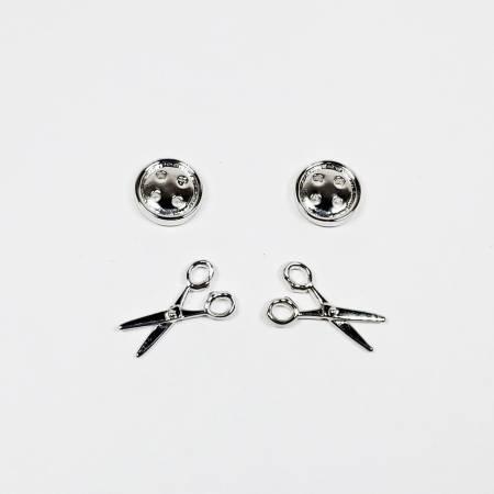 Button & Scissors Earring Set of 2 Silver QE1002S
