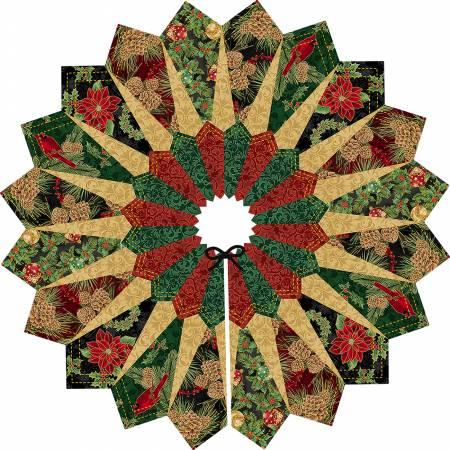 Black Quilt Fox Designs Dresden Tree Skirt Kit, pattern included (PRE-ORDER)