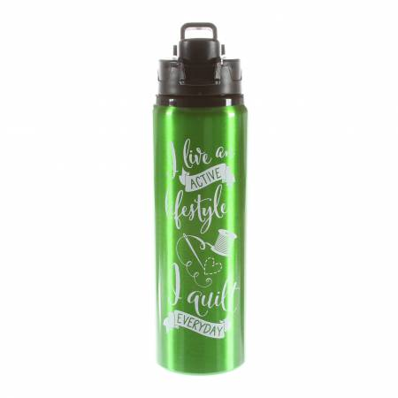 Quilt Happy Lifestyle Water Bottle-Apple Green