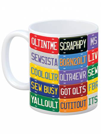 Quilt Happy - License Plate Mug - QH703 - MAY BE RESTOCKED UPON REQUEST