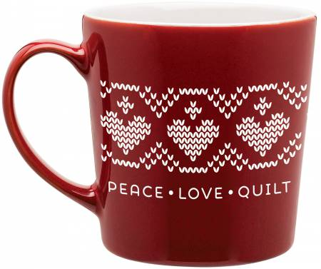 Quilt Happy-Peace/Love/Quilt Mug Red