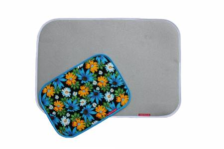 Combo Silicone Ironing Mat Set Classic Silver and Mini Blue