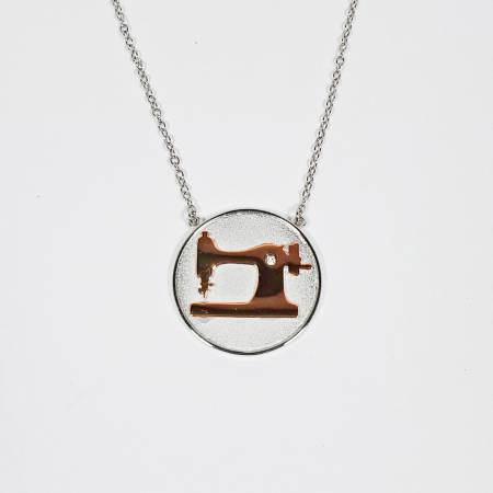 Sewing Machine Coin Necklace Silver & Rose Gold