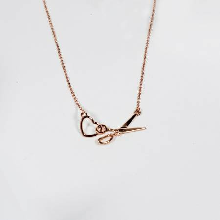Scissor & Heart Charm Necklace Rose Gold