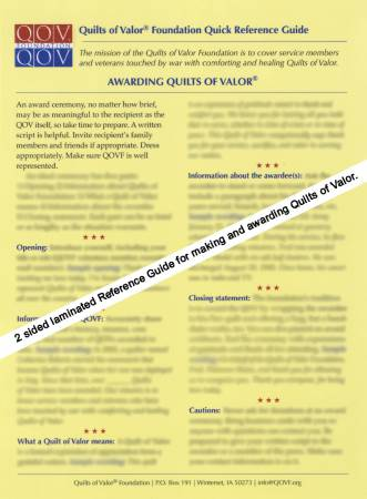Quilt of Valor Quick Reference Card