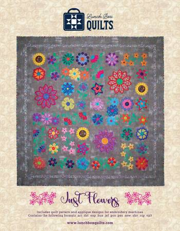 Just Flowers Applique Machine Embroidery Pattern with Redemption Code and CD