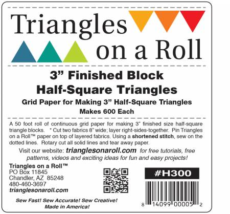 Triangles on a Roll 3in Half Square 50ft Roll