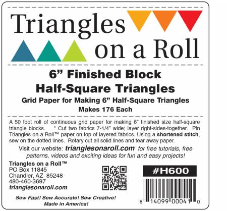 Triangles on a Roll 6in Half Square 50ft Roll