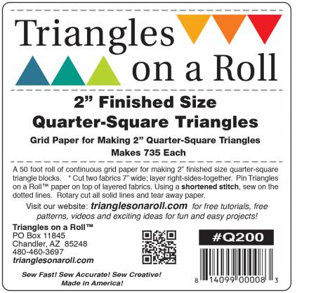 Triangles on a Roll 2in Quarter Square 50ft Roll