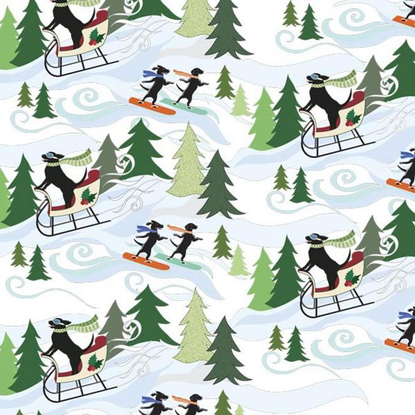 White Dogs Sledding:  Hounds on Holiday by Liora Manne for EBI Fabrics