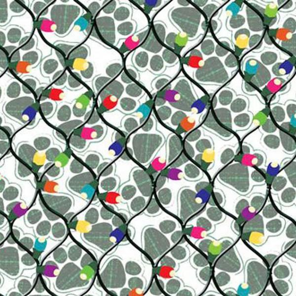 Paw Prints in Greenish Gray and Christmas Light Strands on White:  Hounds on Holiday by Liora Manne for EBI Fabrics