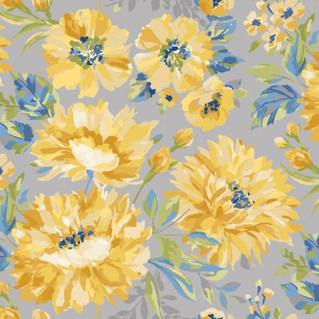 Marcus Fabrics - Yellow Sky - Large Floral/Gray - R2129