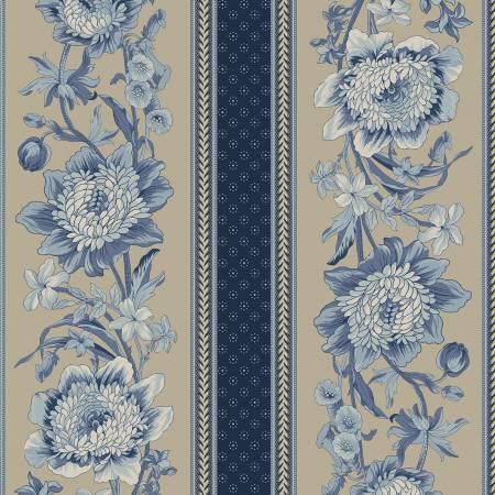 Bountiful Blue - Blue Floral Stripe