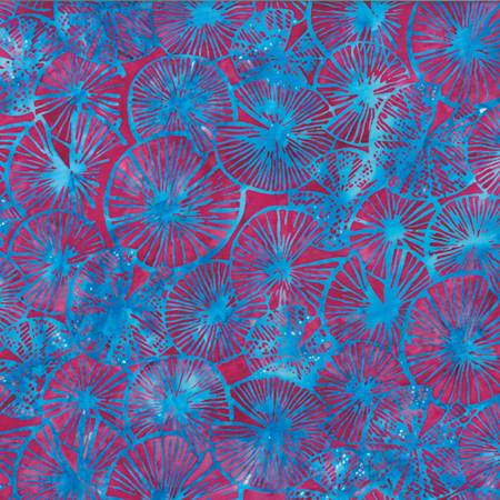 HOFF- Textured Lily Pads Blue/Cherry Bali Batiks