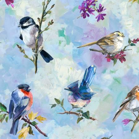 Treetop Painted Birds Digitally Printed