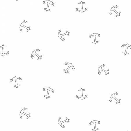 Ramblings by P & B Textiles - White on White Anchors