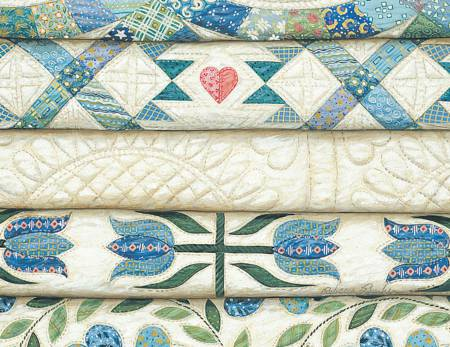 Rebecca Barker Note Cards Stacked Blue Quilts