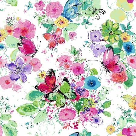 Bloom Bloom Butterfly - Meadowland - Carnation Fabric