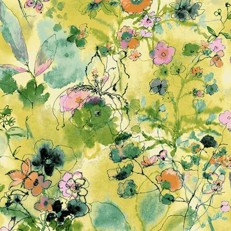 Bloom Bloom Butterfly - Wild Meadow - Lemon Fabric